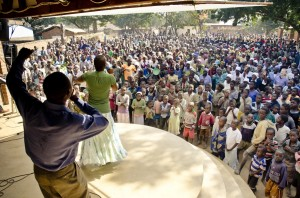 Hedson & Fanny, two of our house parents for the Iris children, leading the huge crowd in worship.