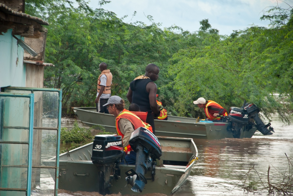 Iris Africa boats going out from Bangula to rescue people trapped by the floods
